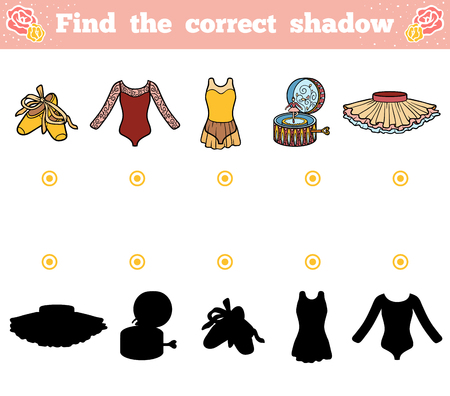 leotard: Find the correct shadow, education game for children. Ballet items Illustration