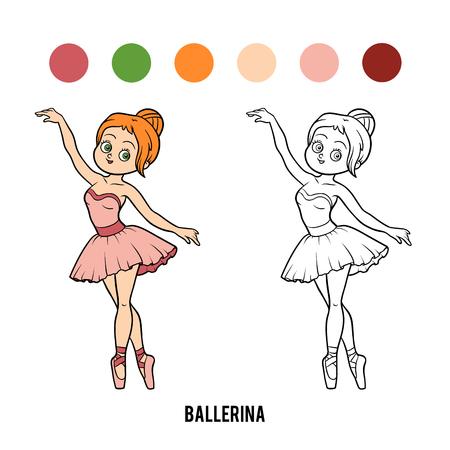 Dibujo Para Colorear Para Niños, Bailarina Ilustraciones Vectoriales ...