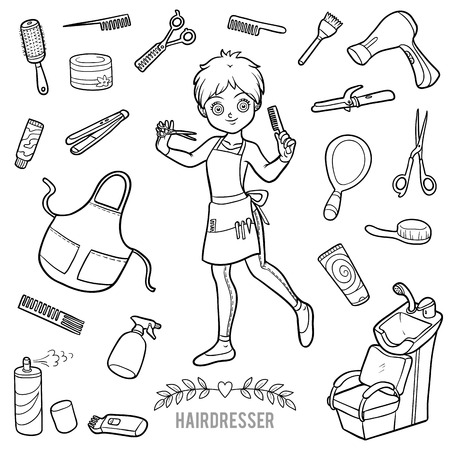 Vector set with hairdresser and objects for hair cutting. Cartoon black and white items