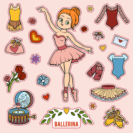 leotard: Vector set with ballerina and dancing objects. Cartoon colorful items Illustration