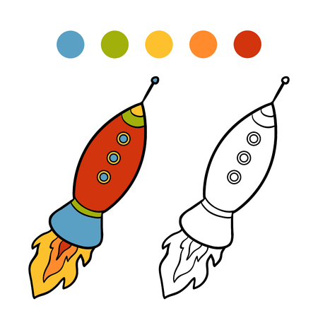 colorless: Coloring book for children, Spaceship