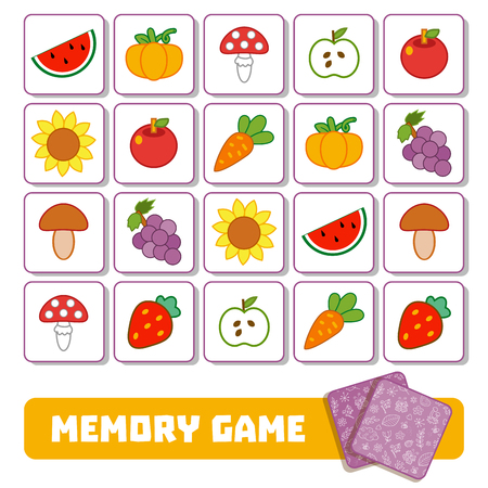 Vector memory game for children, cards with fruits and vegetables Çizim