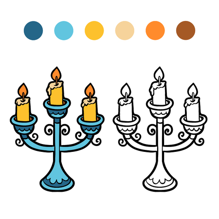 Coloring book for children, cartoon Candlestick