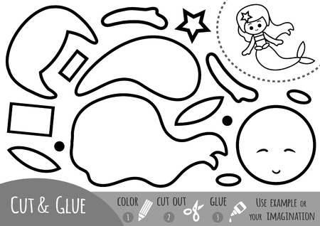 Education paper game for children, Mermaid. Use scissors and glue to create the image.