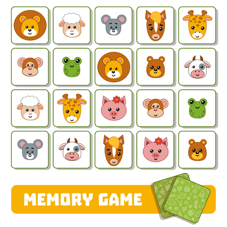 Memory game for children, cards with cute animals 矢量图像