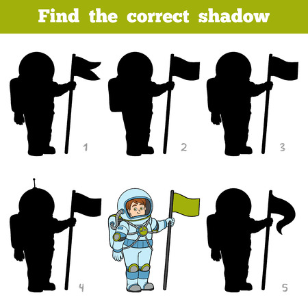 Find the correct shadow, education game for children, Astronaut Illustration