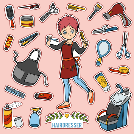 Vector set with hairdresser and objects for hair cutting. Cartoon colorful items Illustration