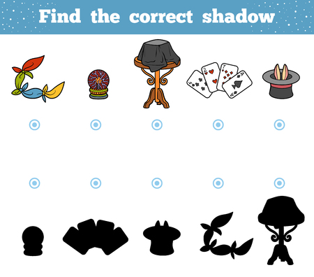 Find the correct shadow, education game for children. A set of accessories for the magician