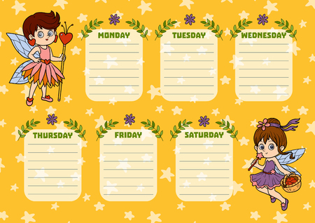 School timetable for children with days of week. Color characters of cartoon fairies
