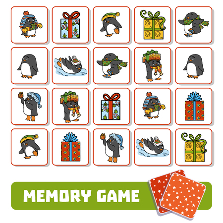 antarctica: Memory game for children, cards with penguins and Christmas gifts Illustration