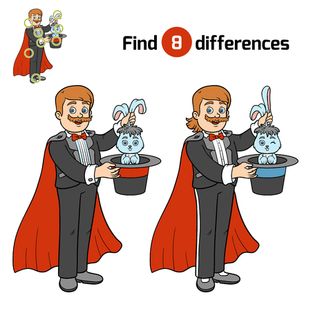 Find differences, education game for children, Illusionist Illustration