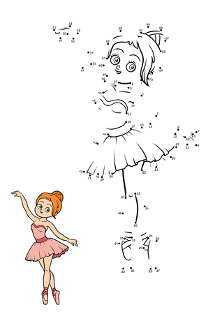 Numbers game, education dot to dot game for children, Ballerina