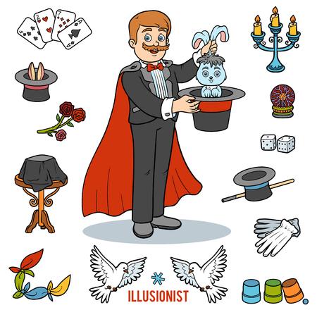 Conjunto de vectores con mago y objetos para trucos de magia. Elementos coloridos de la historieta Foto de archivo - 79465609