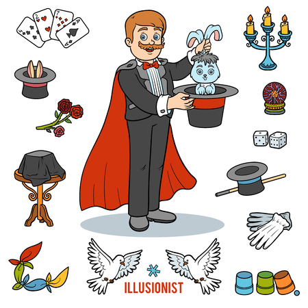 Vector set with magician and objects for magic tricks. Cartoon colorful items