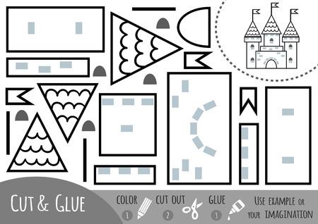 Educatief papieren spel voor kinderen, kasteel. Gebruik een schaar en lijm om de afbeelding te maken. Vector Illustratie
