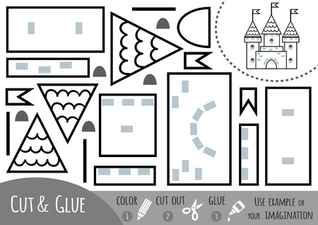 Education paper game for children, Castle. Use scissors and glue to create the image. Vektoros illusztráció