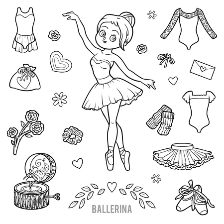 leotard: Vector set with ballerina and dancing objects. Cartoon black and white items