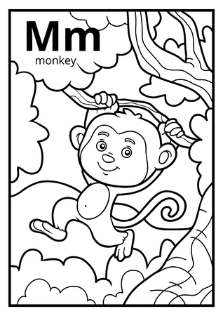 Coloring book for children, colorless alphabet. Letter M, monkey Vettoriali