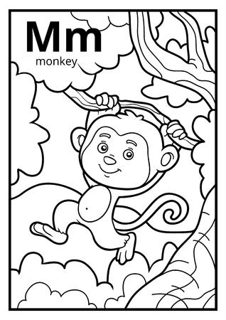 Libro Para Colorear Para Niños: El Mono Con Un Plátano Ilustraciones ...