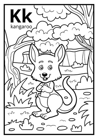 Coloring book for children, colorless alphabet. Letter K, kangaroo