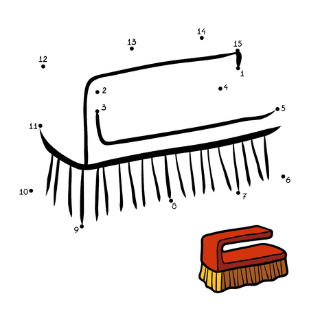 bristles: Numbers game, education dot to dot game for children, Cleaning hand brush