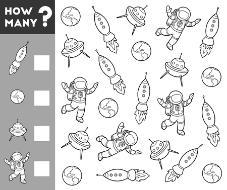 Counting Game for Preschool Children. Educational a mathematical game. Count how many space objects and write the result! Illustration