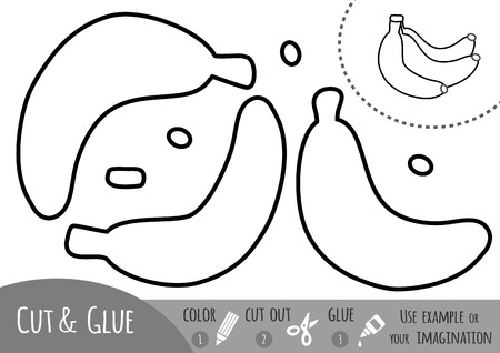 Jeu de papier éducatif pour enfants, Banana. Utilisez des ciseaux et de la colle pour créer l'image. Banque d'images - 81582717