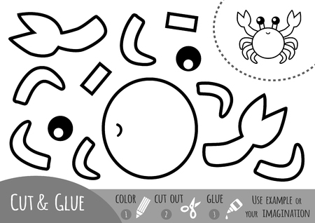 Education paper game for children, Crab. Use scissors and glue to create the image.