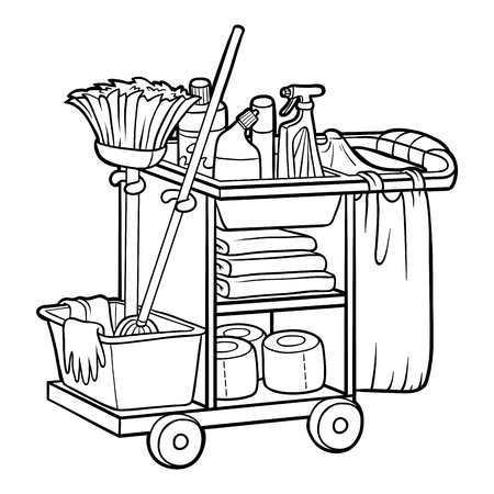 Coloring book for children, Maid cart