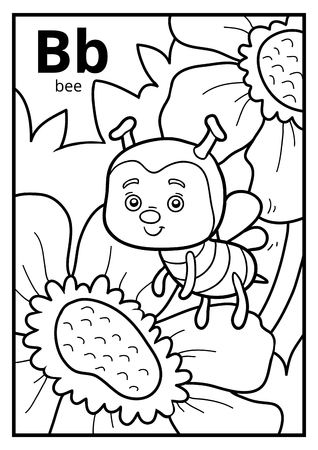 Coloring book for children, colorless alphabet. Letter B, bee