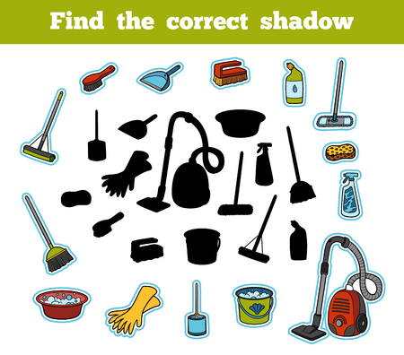 children silhouettes: Find the correct shadow, education game for children. Set of objects for cleaning