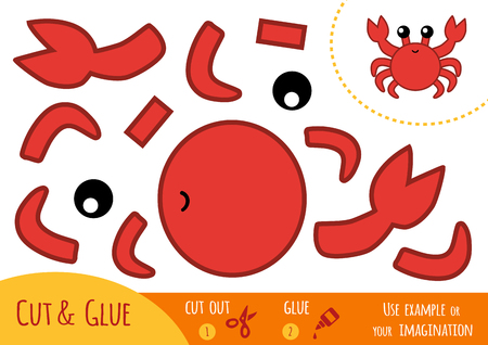 children crab: Education paper game for children, Crab. Use scissors and glue to create the image.