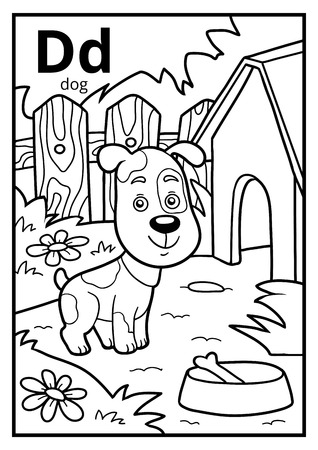 Coloring book for children, colorless alphabet. Letter D, dog Vettoriali