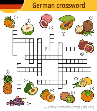 Vector german crossword, education game for children about tropical fruits