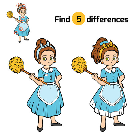 Find differences, education game for children, Maid Illustration
