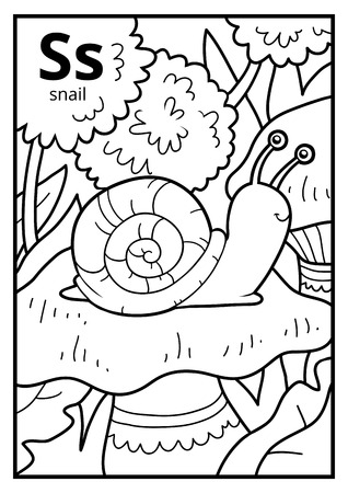 Libro Para Colorear Para Niños, Alfabeto Incoloro. Letra W Gusano ...