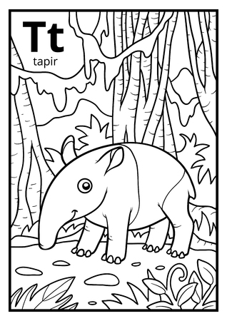 Coloring book for children, colorless alphabet. Letter T, tapir