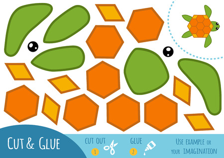 Education paper game for children, Turtle. Use scissors and glue to create the image.