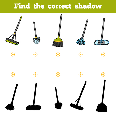 Find the correct shadow, education game for children. Set of objects for cleaning