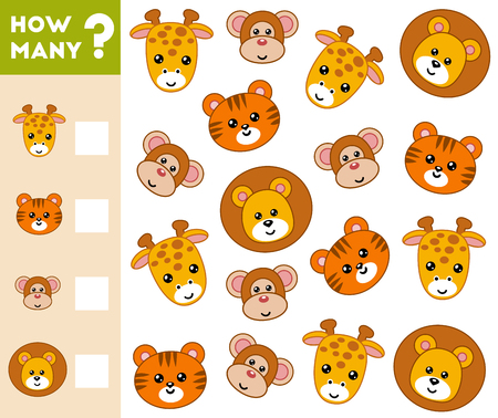 Counting Game for Preschool Children. Educational a mathematical game. Count how many animals and write the result!