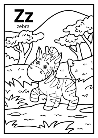 Coloring book for children, colorless alphabet with letter Z, zebra