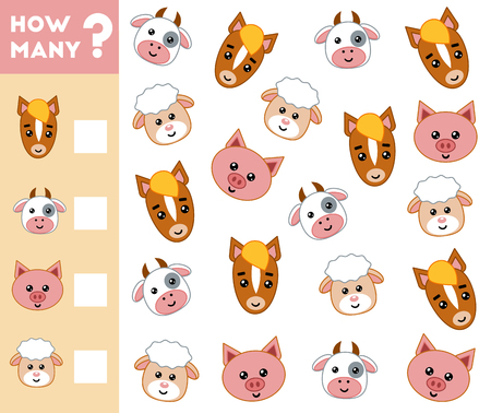 Counting Game for Preschool Children. Educational a mathematical game. Count how many farm animals and write the result. Vectores