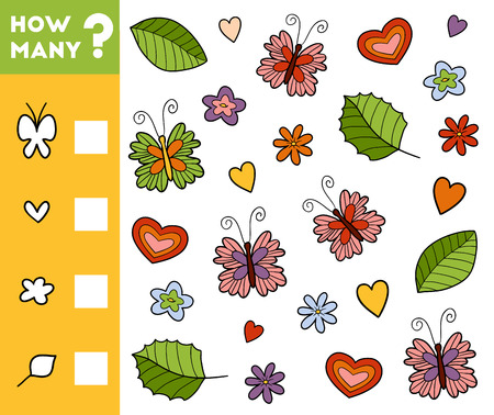 Counting Game for Preschool Children. Educational a mathematical game. Count how many objects of nature and write the result!
