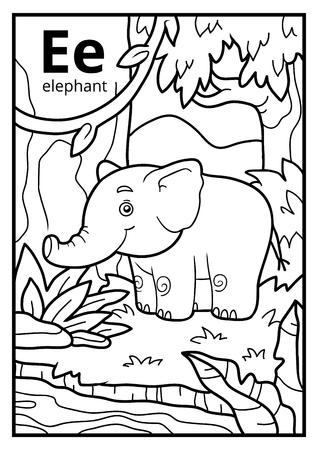 Libro De Colorear Para Niños, Alfabeto Incoloro. Letra E, Elefante ...