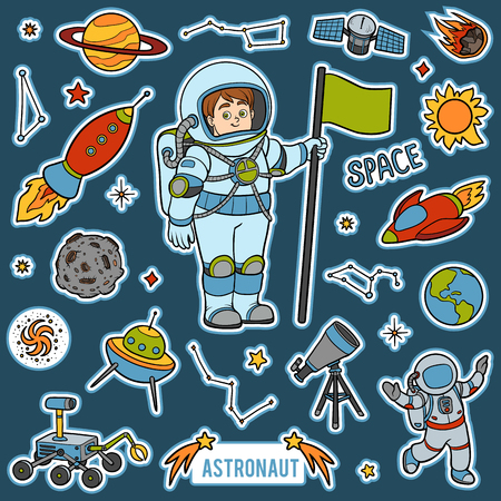 arts system: Vector set with astronaut and space objects in cartoon colorful items Illustration