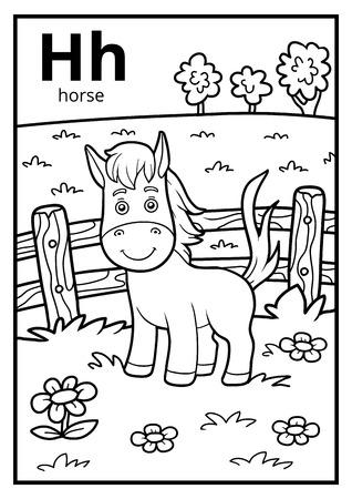 Malbuch für Kinder, farbloses Alphabet. Buchstabe H, Pferd