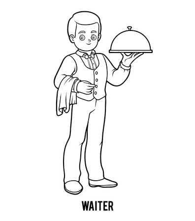 coloration: Coloring book for children, Waiter Illustration