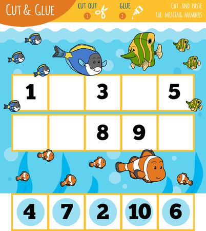 Educatief getallen spel voor kinderen, vissen en zee. Knip de cijfers uit en lijm ze op volgorde.