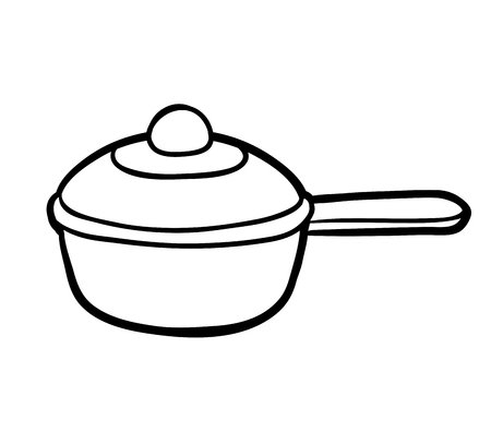 Coloring book for children, Saucepan Illustration