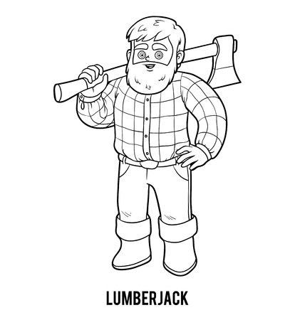 logging: Coloring book for children, Lumberjack Illustration